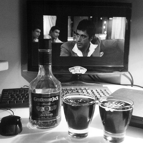 Drink with Tony! TonyMontana Scarface Jackdaniels Gentlemanjack whiskey chill polishboy polishgirl instagood