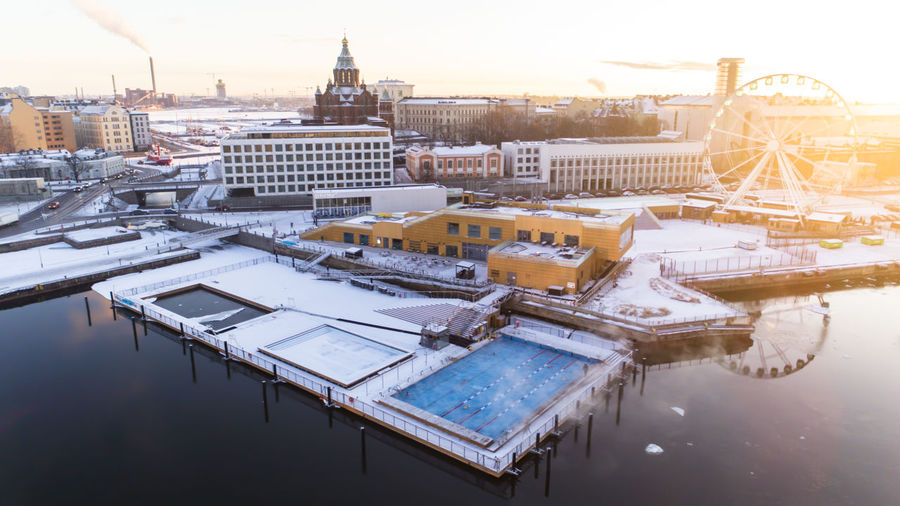 Cityscape Finland Finnish Nature Helsinki Ice Winter Aerial Allas Sea Pool Architecture Building Building Exterior Built Structure Centre Cold High Angle View Ilmakuva Katajanokka No People Outside Pool Pool Snow Sunrise Sunset Water