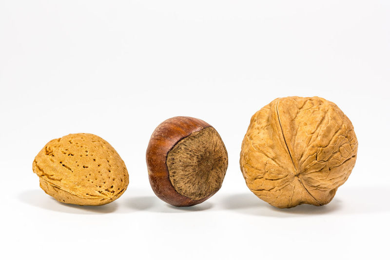 Some nuts isolated. Almond Close-up Food Food And Drink Freshness Hazelnut Healthy Eating Isolated White Background No People Nut - Food Studio Shot Walnut White Background