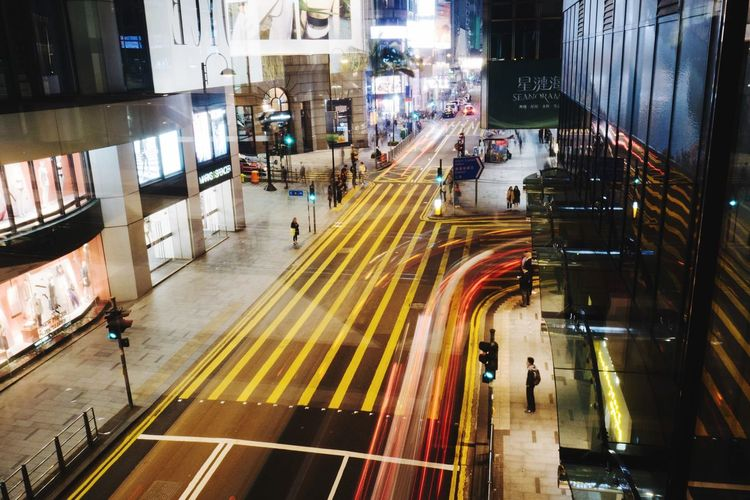 Illuminated Night High Angle View Transportation City City Life Long Exposure Architecture Real People Speed Outdoors People Welcome To Black