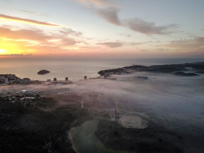 Drone  Mallorca Morning SPAIN Beauty In Nature Cloud - Sky Day Foggy Horizon Over Water Nature No People Outdoors Scenics Sea Sky Sunrise Sunset Tranquil Scene Tranquility Water