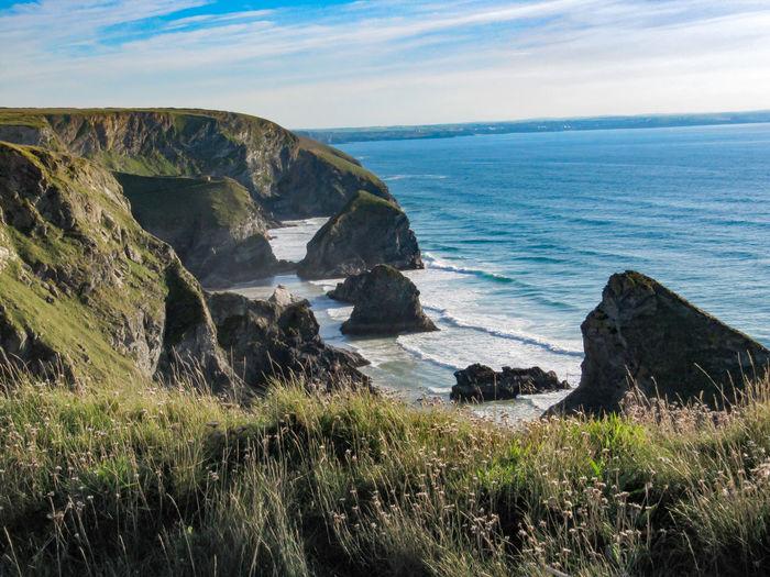 Bedruthan Steps, Mawgan Porth, Cornwall Kiomi Collection Rocks Waves Clifftop Cliffs Water Sea Beach Mawgan Porth Bedruthan Steps Cornwall United Kingdom Grass