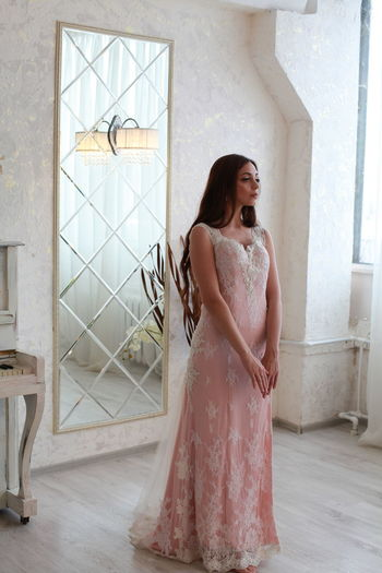 Pink Color Pink Dress Water Wedding Dress Bride White Background One Person Young Women Real People Standing Fashion Young Adult Lifestyles Dress Full Length Women Clothing Beautiful Woman Beauty Day Looking Window Contemplation Flooring Hairstyle