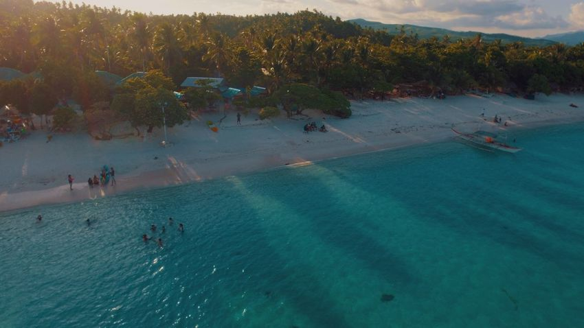 Aerial View Beach Sea Water People Vacations Sunset Tree Blue Sand Landscape Nature