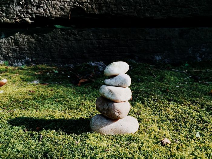 Stones on field