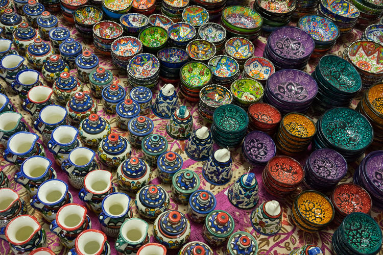 High Angle View Of Ceramics For Sale At Street Market