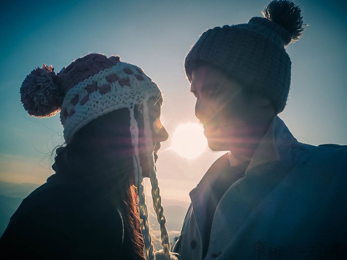 Shut up and kiss me. Boyfriend❤ Love Bonding Couple - Relationship Grilfriend Headshot Heterosexual Couple Leisure Activity Lens Flare Males  Men Nature Outdoors People Portrait Sky Sun Sunlight Sunset Togetherness Two People Warm Clothing Women Young Adult Young Men