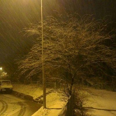 Снежный ночной  Владивосток.  снегопад  зима Snow