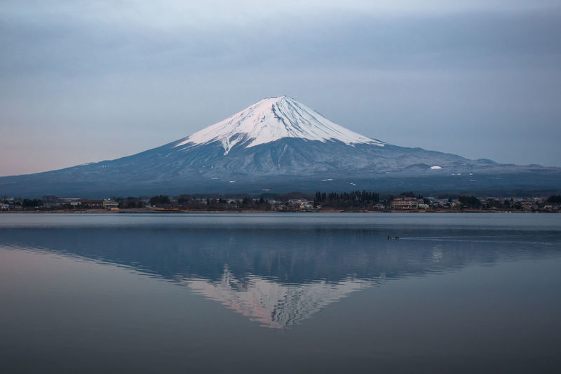 Mt.Fuji in early morning, Kawaguchiko lake, Japan. Beauty In Nature Blue Day Early Morning Horizon Over Water Lake Lake Shoji Landscape Landscape_Collection Landscapes Morning Mountain Mountain View Mountains Mt.Fuji, Nature Outdoors Reflection Relaxing Scenics Sky Sunset Tranquility Travel, Water Reflections