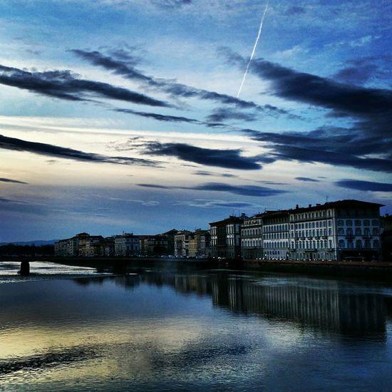 Firenze Florence Sunset Lungarno Lungarni Landscape Water Reflections Sky