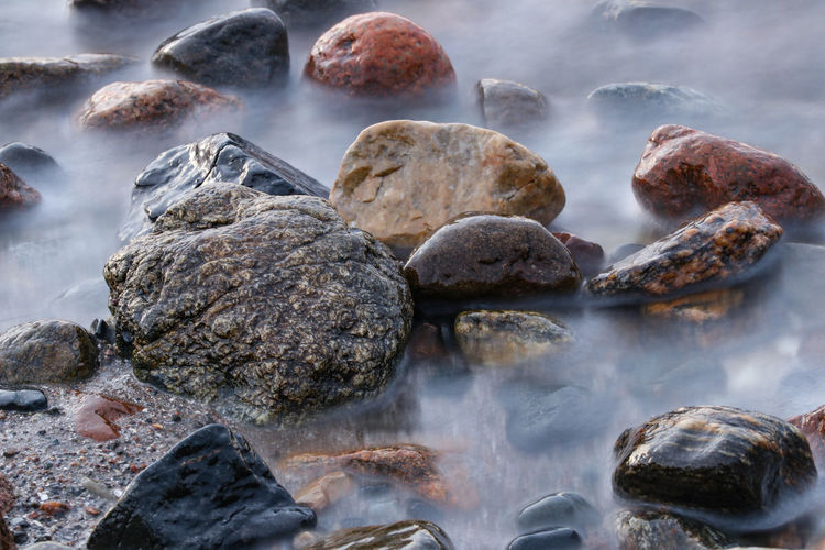 Close-up of rocks on shore