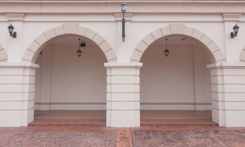 Open door of building
