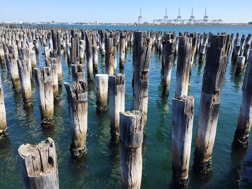 Water Sky Nature Sea Outdoors Wooden Post No People Day Scenics Tranquility Beauty In Nature Beach Horizon Over Water Pier Princes Pier Port Melbourne Wharf Seascape Port Neighborhood Map Breathing Space