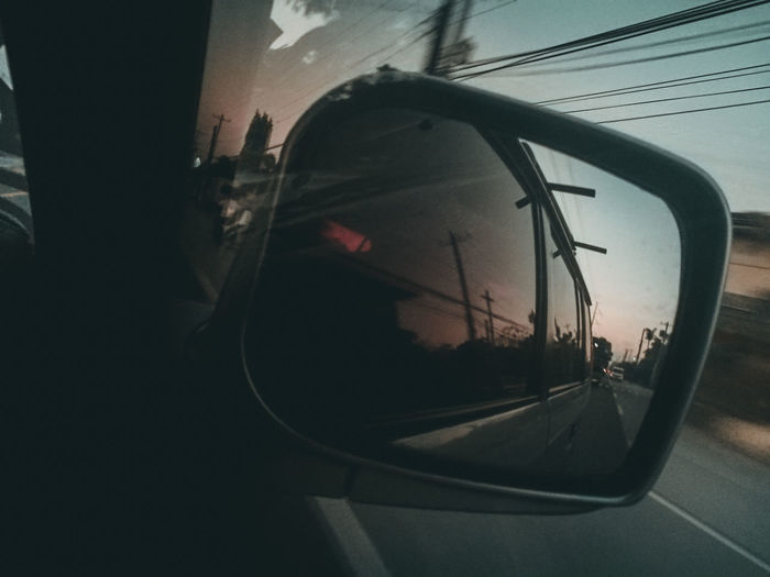 sunset drive Land Vehicle Car Window Close-up Side-view Mirror Car Point Of View