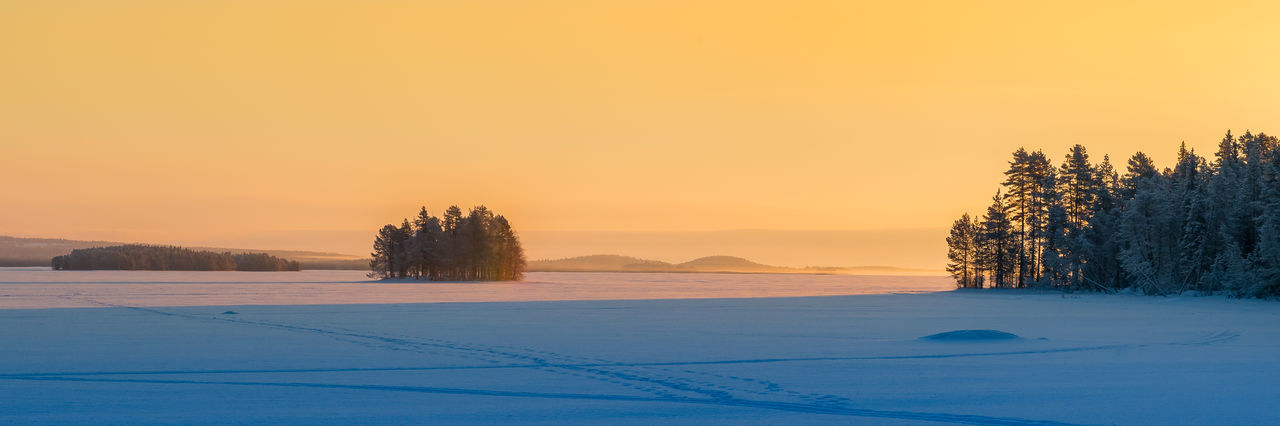 Finland Frozen Frozen Lake Lapland Winter Forest Lake Landscape Orange Color Polar Circle Sunset