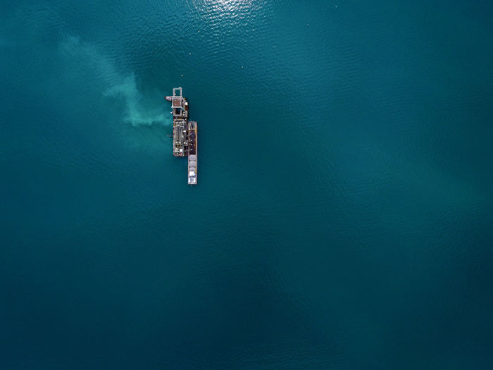 Drone  Architecture Blue Blue Water Day Drilling Platform Drilling Rig Dronephotography Dust High Angle View Mobile Drilling Barge Nautical Vessel No People Sea Water Waterfront