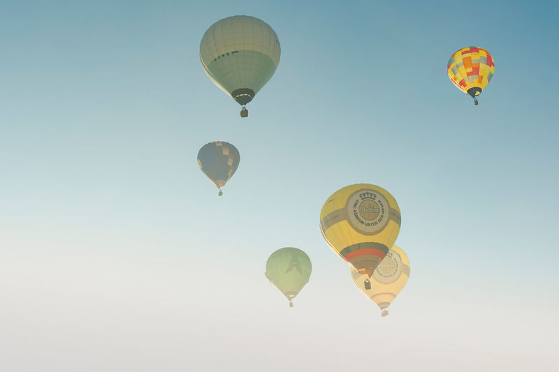 Start of the hot air balloons in arnsberg in the morning mist. warsteiner international montgolfiade
