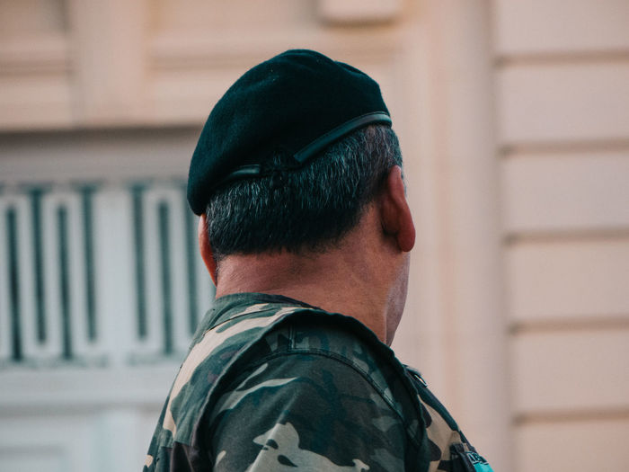Rear view of militar soldier