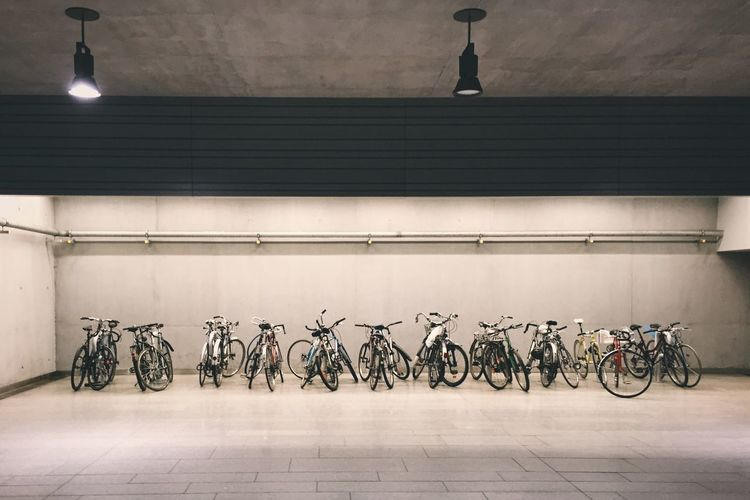 Bicycles parked at parking lot