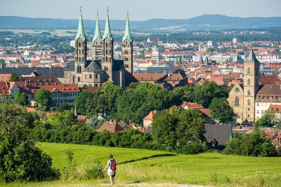 Hiking down from the Altenburg Hiking Altenburg Castle Dom Cathedral Bamberg  Germany Deutschland Europe Unesco Bayern Bavaria Grass Field Panoramic
