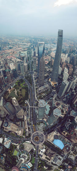 Shanghai, China Aerial View Architecture Building Exterior Built Structure City City Life Cityscape Crowded High Angle View Modern Skyscraper Travel Destinations