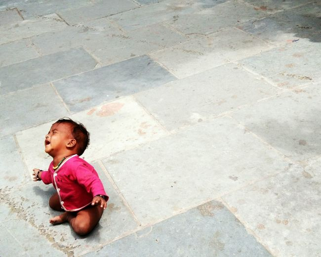 Lonely Toddler Child Crying Outdoors