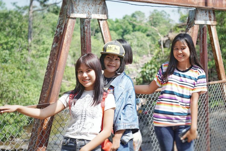 Asian Style Conical Hat Thailand Friendship Child Childhood Portrait Smiling Togetherness Happiness Boys Girls Females