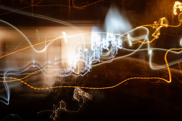 """""""Neon Kandinskij"""" Abstract Photography Nightphotography Power Supply Complexity Black Background Studio Shot Smoke - Physical Structure Speed Electricity  Nature Indoors  Technology Abstract Creativity Light Painting Blurred Motion Night Light - Natural Phenomenon Pattern No People Glowing Light Trail Long Exposure Motion Illuminated"""