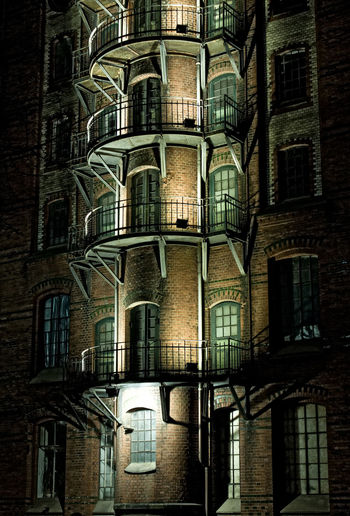 Architecture Balcony Building Culture Door Germany Hamburg History Learn & Shoot: After Dark Lights Night Night Lights Nightphotography Residential Structure Speicherstadt Wall Weltkulturerbe