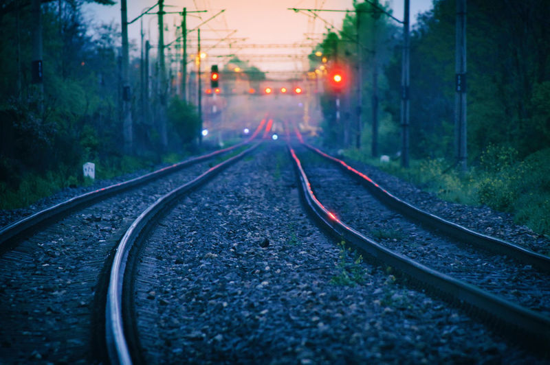 Way to the infinity Bush Cable Illuminated Infinity Infinity ∞ Iron Light Nature Night No People Outdoors Rail Transportation Railroad Track Railway Signal Railway Track Red Lips Rock Slovakia Stone The Way Forward Transportation Tree Way