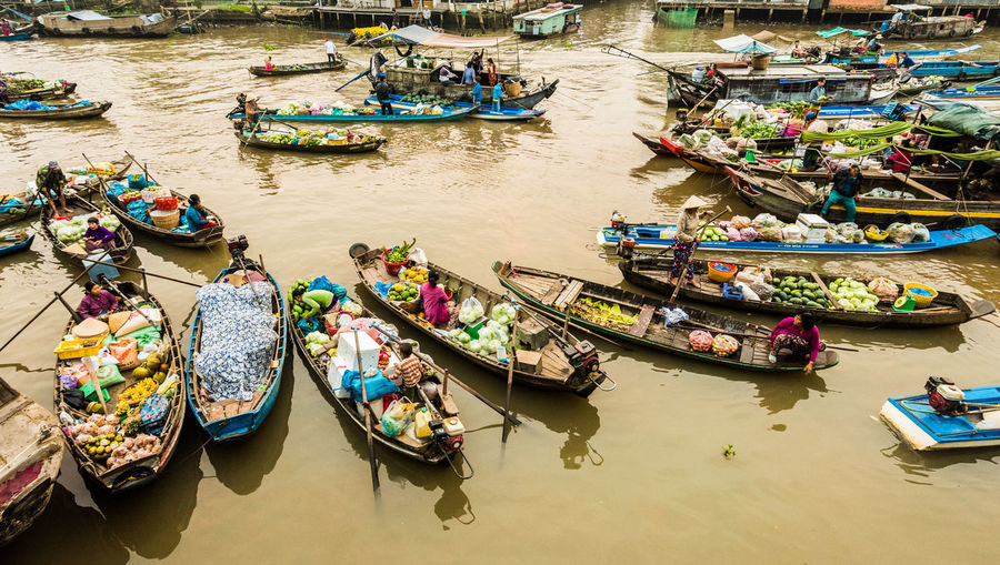 High angle view of floating market on lake