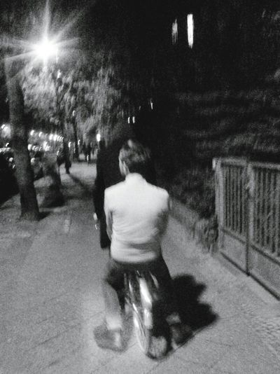 driving at night. Taking Photos Enjoying Life Hello World Friends Bycicle Nightlife Night Streetphotography Blackandwhite Embrace The Moment