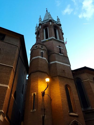 43 Golden Moments Detail of All Saints Church on Via del Babuino, Rome, Italy. Architecture Building Building Exterior Low Angle View Religion Place Of Worship Spirituality Sky Façade Outdoors Blue Sky Illuminated Evening Anglican Church Brick