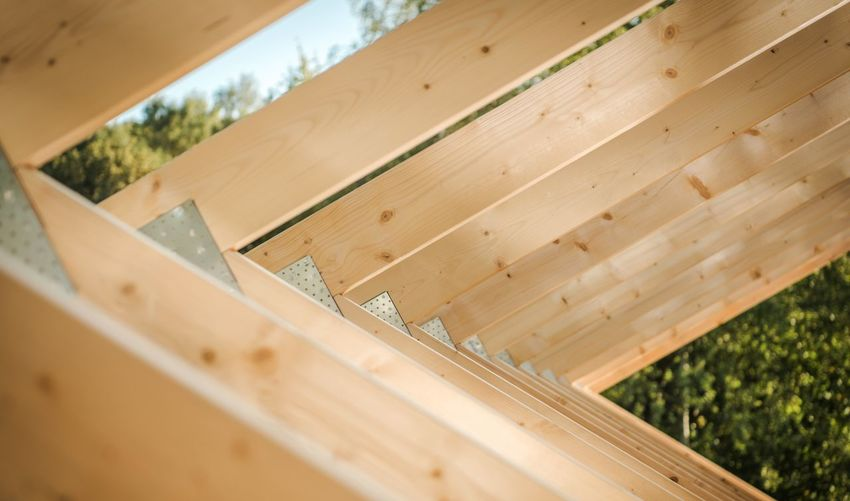 Low angle view of wooden structure outdoors