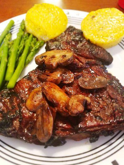 Ribeye Steak Mushrooms Asparagus Polenta