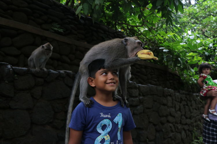 Monkey on boy shoulder eating banana by wall
