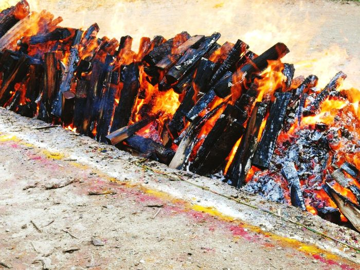 Close-up of bonfire on barbecue grill