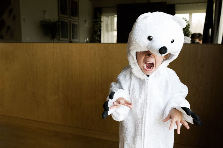 Boy Wearing Polar Bear Costume At Home