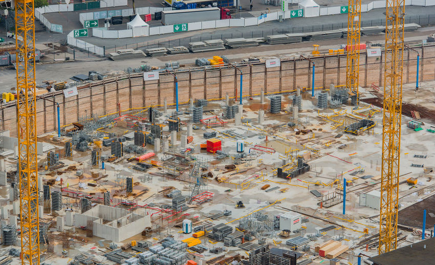 Construction site at Cologne train station in Cologne Architecture Cologne Cologne Railway Station Construction Site Hohenzöllern Bridge MesseCity Rhine Building Building Site Commercial Space District Foundation Stone Foundation Wall Housing Large-scale Project Site