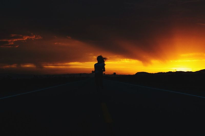 Sometimes, it's best to pull over the side of the road for moments like these. Sunset Silhouette Outdoors Highway Running Woman Running Silhouette Of People Woman Silhoutte Escape Running From Love Spectacle Warm Colors Warm Lighting Marathon Marathon Runner EyeEmNewHere Let's Go. Together.
