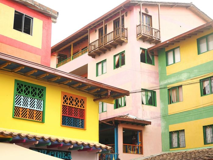Colors Colorful Colombia City Yellow Window Façade Sky Architecture Building Exterior Built Structure Balcony Townhouse Residential Structure Village Exterior House