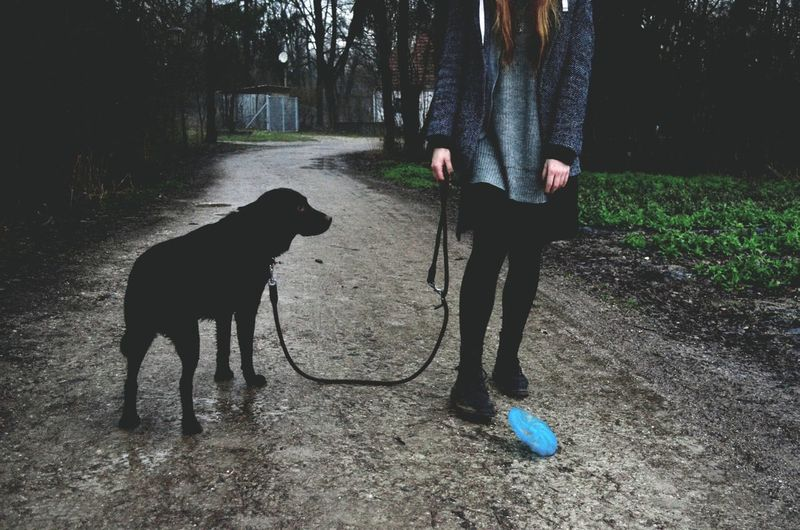 Woman with dog on pathway