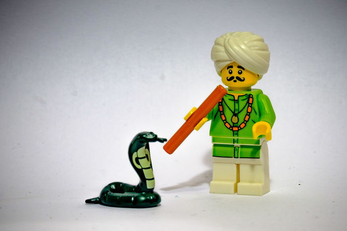 India LEGO Music Snake Snake Charmer Animal Childhood Close-up Day Flute Green Color Indoors  Lego Minifigures Legominifigures Legophotography Multi Colored Toy White Background Yellow