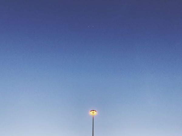 Minimalism Illuminated Street Lamp Street Light Evening Copy Space Low Angle View Blue Moon Nature Outdoors Clear Sky No People Sky