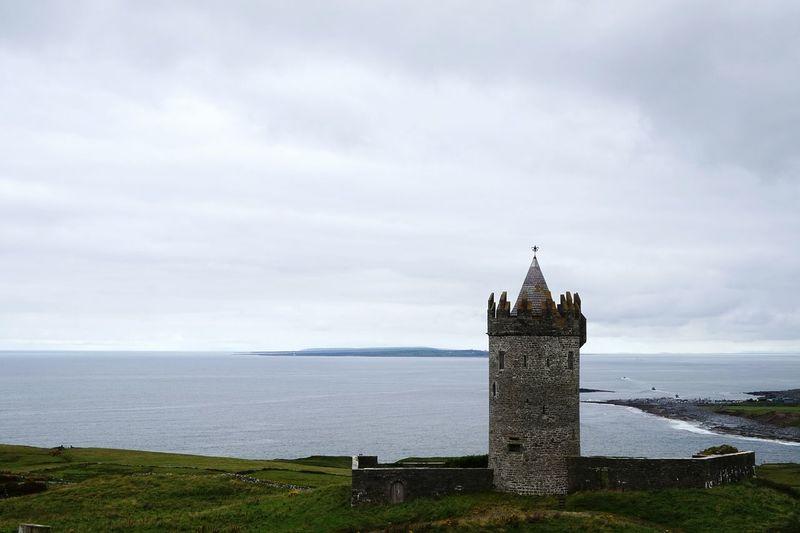 Castle overlooking ferry way to island. Castle Ocean View Landscape Landscape_photography Coastal Views Coastal Beauty Ireland