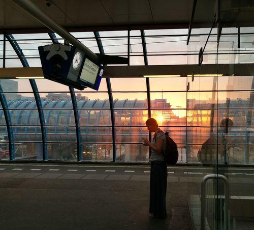 Sunrise Train Station Amsterdam Sloterdijk Girl Departures Arrivals Platform Architecture Internet Addiction Transportation Travel
