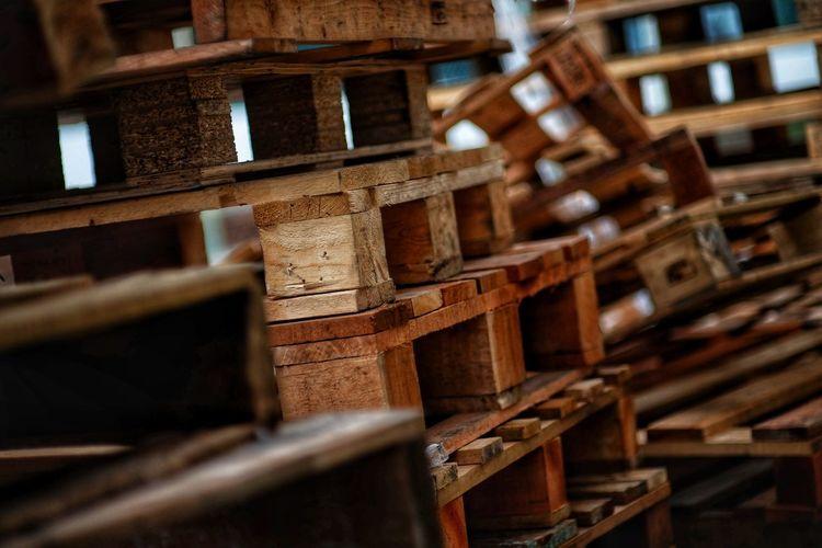 Damaged wooden pallets
