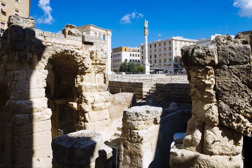 Lecce - Roman amphitheater Aged Aged Stone Ancient Arch Architecture Blue Building Exterior Built Structure Culture Day Exterior Fortress History Italy Lecce No People Outdoors Roman Ruin Sky Sunny The Past Tourism Travel Weathered