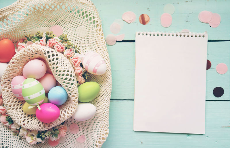 Table Still Life Food And Drink Food Directly Above High Angle View Indoors  Pink Color Close-up Egg No People Freshness Nature Holiday Multi Colored Art And Craft Book Easter