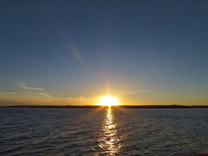 Water Sun Tranquil Scene Sunbeam Orange Color Evening Lake View Evening Sky